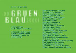 Plakat für Ausstellung «gruen.blau» in Olten.
