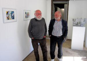 Franz Anatol Wyss und Roman Lüscher 2021 in der Galerie Rössli in Balsthal. (Foto: Eva Buhrfeind)