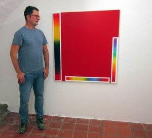 Matthias Huber 2021 in der Galerie Rössli in Balsthal. (Foto: Eva Buhrfeind)